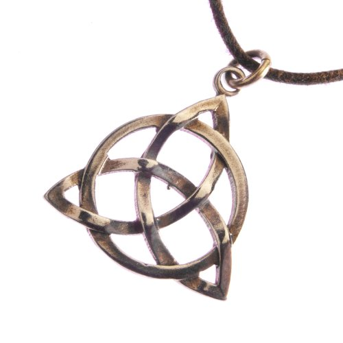 Delicate Celtic Trinity Knot Peace Bronze Pendant Necklace on Adjustable Natural Fiber Cord