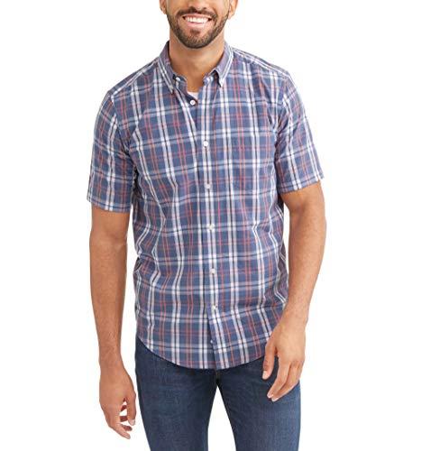 George Mens Wrinkle Resistant Poplin Button Down Short Sleeve Shirt