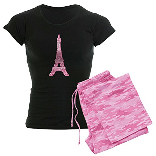 (CafePress Pink Eiffel Tower Women's Dark Pajamas Womens Novelty Cotton Pajama Set, Comfortable PJ)