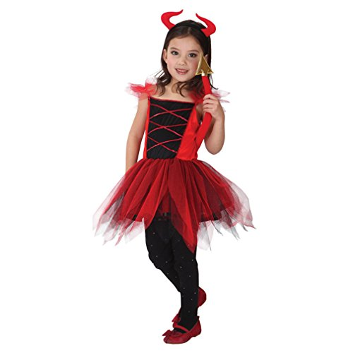 Spooktacular Girls' Lovely Red Devilkin Dress-Up Costume Set with Tail, L