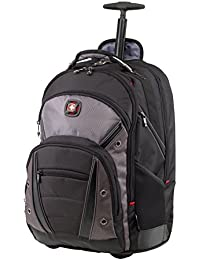 Luggage Synergy Padded Wheeled Laptop Bag with Trolley Handle, Black/Grey, 16-inch