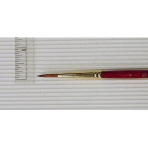 Size 4 Series 4050 Round Synthetic Sable Princeton Heritage Golden Taklon Brush for Watercolor /& Acrylic