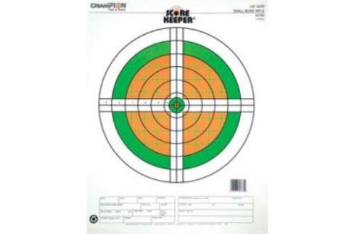 Champion Score Keeper Fluorescent Orange/Green Bull 100-yard Small Bore Rifle Target (Pack of (100 Yard Small Bore Rifle)