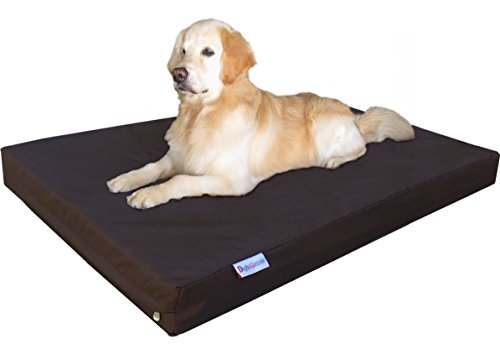 Dogbed4less Orthopedic Waterproof Heavy Duty Gel Memory Foam Dog Bed for Large pet, Nylon Cover in Brown, Jumbo 55