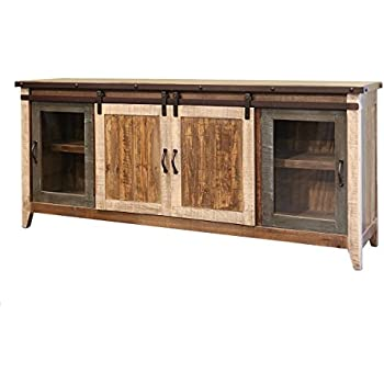 Madeline Sturdy Solid Wood Antique Multi Color 80 Inch Rustic Sliding Barn  Door TV Stand