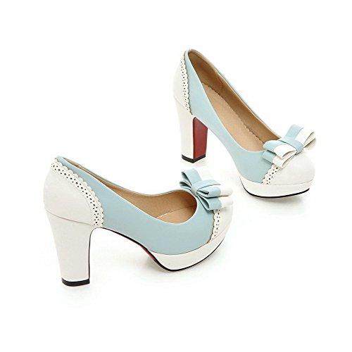Tire à Légeres Couleurs Matière Bleu Chaussures Talon Femme Souple Mélangées Haut VogueZone009 Rond 5w81qP
