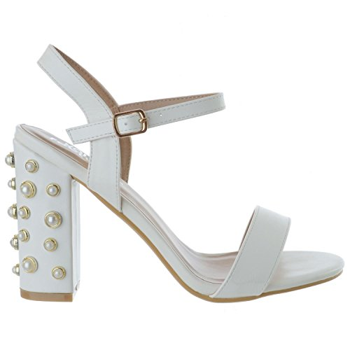 Bal Boucle Miss Blanc Soirée UK pour Cuir à Perle Dames Image Faux Talon Taille Lanières Femmes Cheville Bloc Chaussures Sandales Bride 6rw64qUO