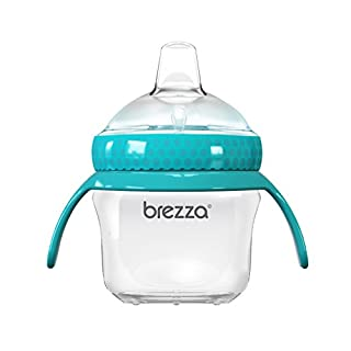 Baby Brezza Transition Sippy Cup with Handles - Leak & Spill Proof - Soft Silicone Spout, BPA Free, Wide Mouth for Easy Cleaning - Great Transitional Cup for Infants and Toddlers – 5 Ounce - Blue