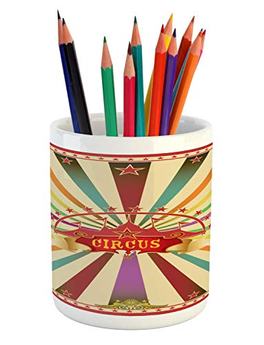 Ambesonne Circus Pencil Pen Holder, Colorful Retro Circus Invitation or Advertisement for Audience with Tent Silhouette, Printed Ceramic Pencil Pen Holder for Desk Office Accessory, -
