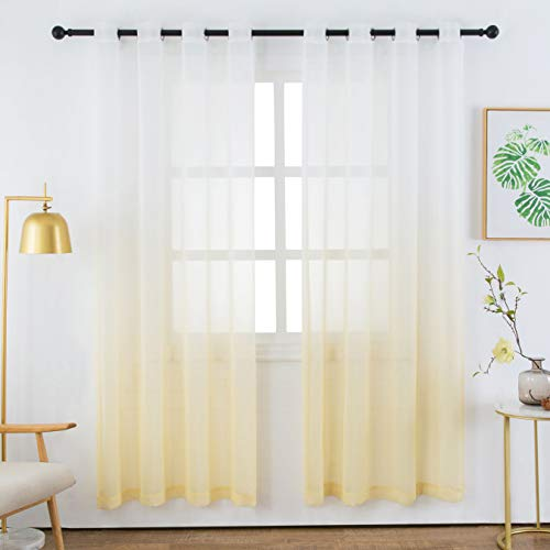 Bermino Faux Linen Sheer Curtains Voile Grommet Ombre Semi Sheer Curtains for Bedroom Living Room Set of 2 Curtain Panels 54 x 84 inch Light Yellow Gradient