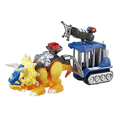 Chomp Squad Playskool Officer Lockup, Triceratops Dinosaur Figure, Police Toy with Pretend Jail Cell, Dinosaur Toy for Kids 3 Years and Up (Amazon Exclusive)