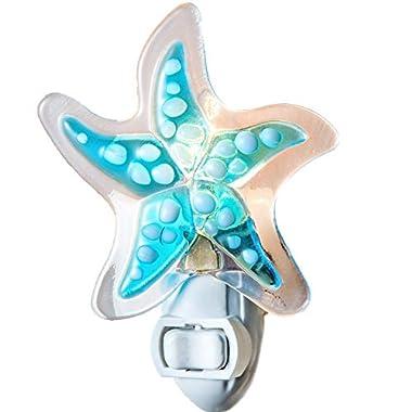 J Devlin NTL 147 Starfish Night Light Aqua Blue Fused Glass Decorative Accent Coastal Home Decor