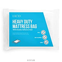 LUCID Heavy Duty 3 mil Mattress Bag with Double Adhesive Closure - Sealable Cover for Moving and Storage - Queen