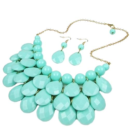 Yuhuan Women's Choker Acrylic Candy Color Multilayer Pendant Statement Necklace Earrings Set (Blue)