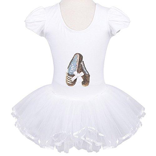 White Dance Costumes Dress (Kids Rhinestone Sparkle Dance Costumes Short Sleeve Tutu Ballet Dress for Little Girls 3-8 Years B029_White_XL)