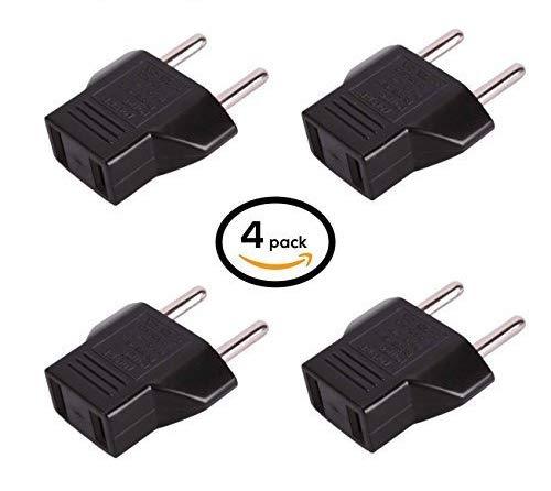 US USA to EU Europe Travel AC Power Socket Plug Adapter Adapter Converter (Black, 4-Pack)