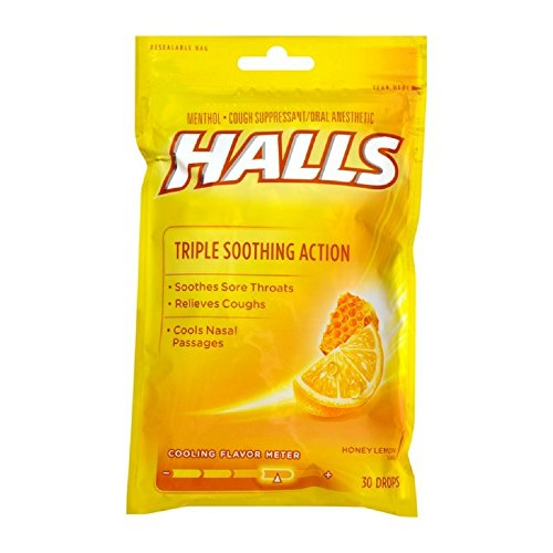 HALLS Cough Drops, Honey-Lemon, 30 (Vapor Action Honey)