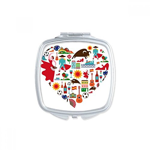 Spain Spanish Heart Bullfight Flamingo Guitar Fan National Flag Square Compact Makeup Pocket Mirror Portable Cute Small Hand Mirrors Gift by DIYthinker
