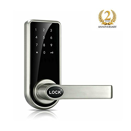 Smart Password Door Lock With Safety and Lever Reversible, Smart Door Lock easy to Installation Applicable for door 30-90mm Silver by Easgel