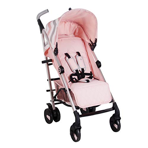 My Babiie Pink Chevron Baby Stroller – Lightweight Baby Stroller with Carry Handle – Silver Frame and Pink Chevron Canopy – Lightweight Travel Stroller – Suitable from Birth 0months – 33 lbs