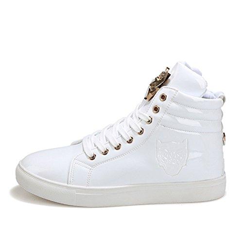 Pp Mode Mens Tonåringar Mode Sneakers Basket Patent Gymträning Kör Snygga Skor Vit