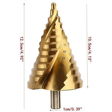 OCGIG 6-65MM Taladro Espiral HSS Paso Broca/Taladro Pagoda/Taladro Escalera Revestimiento de Titanio Perforador 13 Pasos: Amazon.es: Bricolaje y ...
