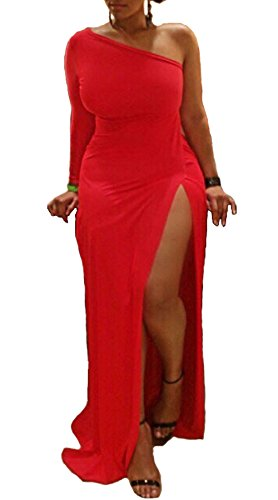 Womens Sexy Plus Size One shoulder Long Sleeve High Slits Maxi Dress,Red,X-Large