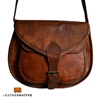Women's Handmade Leather Saddlebag Purse - Smart Green Canvas Lining and Reinforced Hand-Stitching - 3 Compartments, 2 are Zippered - Crossbody Purse for Business and Pleasure - 9 x 11 x 3 Inches