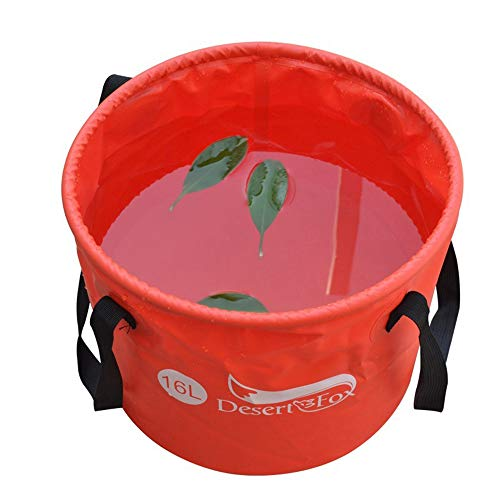 DESERT & FOX 4.2Gal/6.6Gal Collapsible Bucket Portable Folding Water Container,16L/25L Lightweight Durable Outdoor Camping,Picnic,Fishing,Washing Tool