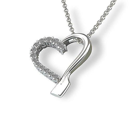 14k Gold Rowing Jewelry Heart Diamond Pendant by Strokeside Designs / SI1-SI2 Diamond Set / Oar Jewelry