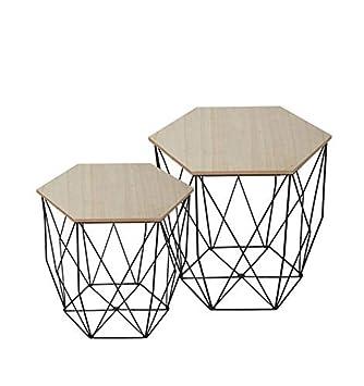 Homemania Table Basse Ermes En Metal Couleur Noir Et Bois Naturel Maison Mobilier Design Pour Salon Sejour Bureau Mdf Enduites De Paulownia