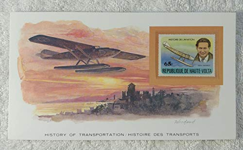 The Seaplane - Postage Stamp (Republic of Upper Volta (Burkina Faso), 1978) & Art Panel - The History of Transportation - Franklin Mint (Limited Edition, 1986) - Jean Mermoz, Airplane, Aviation, Pontoons