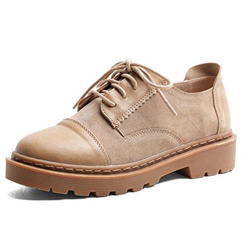 Cuir Antidérapantes Chaussures Vintage Noir Lacets à Mode Style JRenok Beige Casual Ville de Derbies Brogues Beige Femme T78Oq
