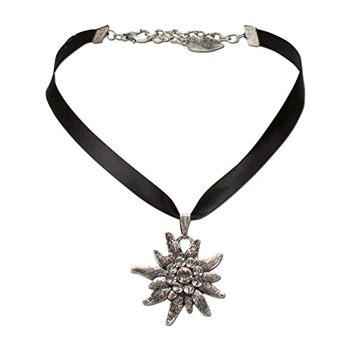 Alpenflüstern Bavarian Rhinestone Edelweiss Satin Necklace (Black) - Traditional German Dirndl, Lederhose Jewelry