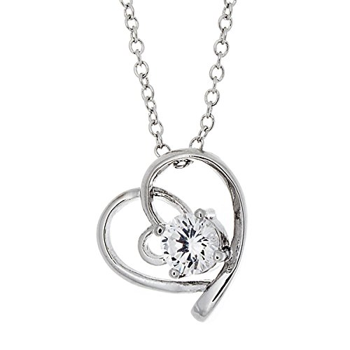 Pop Fashion Silver, Pendant, Necklaces, CZ, Open Heart, Necklaces, Solitaire, Silver Heart Necklace, Teens - & Tiffany Black Friday Co
