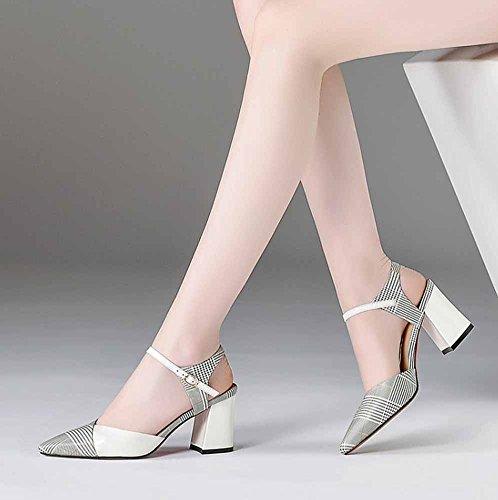 a de la del escocesa de Blanco talón mujeres cuero tela Bombas a de rayas Zapatos impresa SHINIK mano alto las correa Modelo hechos acrílico la tobillo de Sandalia del de B6xET
