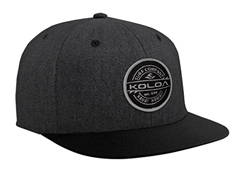 (Joe's USA Koloa Surf Thruster Patch Logo Solid Snapback Hat-Denim-Heather Black)