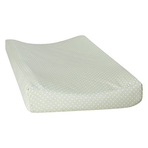 (Trend Lab 100% Cotton Sea Foam Dot Changing Pad Cover, Sage Green/White)
