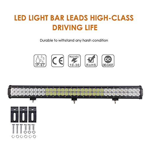 Auxbeam 30 inch LED Light Bar 198W Light Bar Combo with 66pcs 3W Led Chips Driving Light for Off-Road Truck 4x4 Military Mining Boating Farming and Heavy Equipment