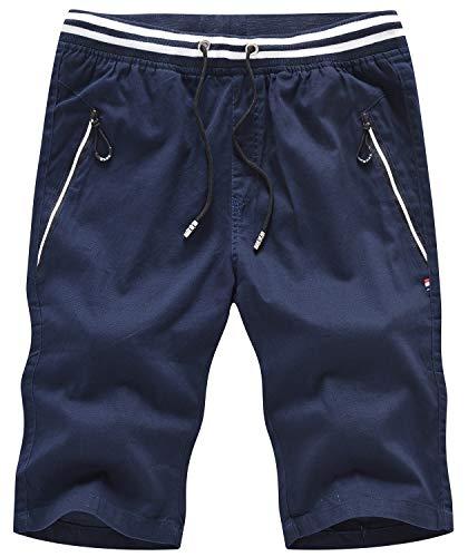 (QPNGRP Mens Casual Shorts Slim-Fit Drawstring Zipper Pockets Shorts 1792 Navy 29)