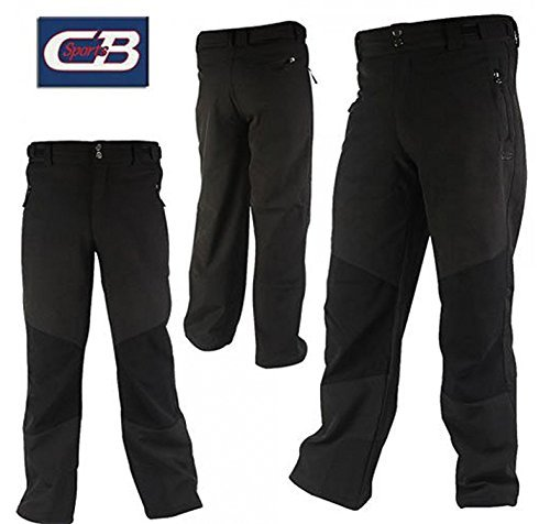 CB Sports Mens Soft Shell Snow Snowboard Pants, Large, Black