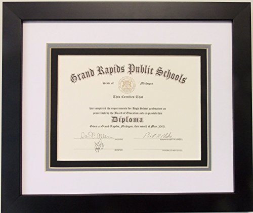 School Diploma Frame (Graduation High School Diploma 6 X 8 Certificate Triple Matted Black Frame)