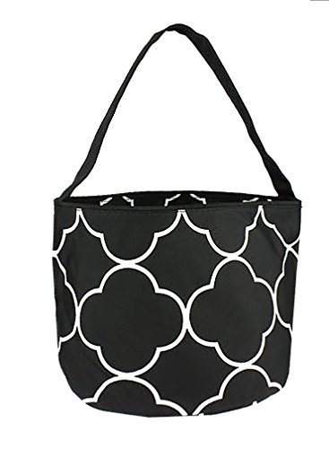 Personalized Childrens Fabric Bucket Tote Bag - Toys- Easter (Personalized, Black Quatrefoil)
