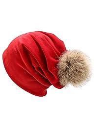 Women Winter Casual Velvet Pullover hat Solid Color Pile hat Ear hat