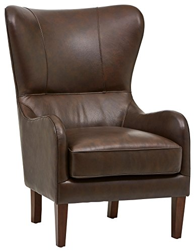 Stone & Beam Deco Mid-Century Modern Leather Wingback Accent Chair, 36