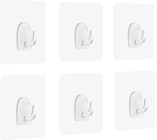 24x Adhesive Sticky Hooks Heavy Duty Bath Wall Seamless Hook Hangers Transparent