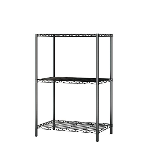 "Homebi Wire Shelving Unit 3 Shelf Metal Storage Rack Durable Organizer with 3-Tiers Wire Shelf in Black,21""Wx14""Dx32""H - 3 Tier Metal Shelf"
