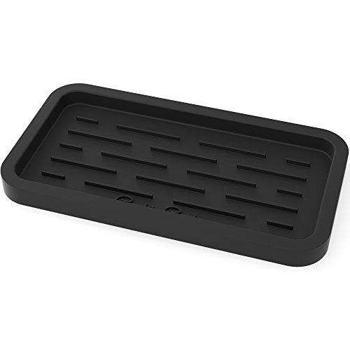 (Sponge Holder - Kitchen Sink Organizer - Sink Caddy - Silicone Sink Tray - Soap Holder - Spoon Rest - Multipurpose Use (Black))