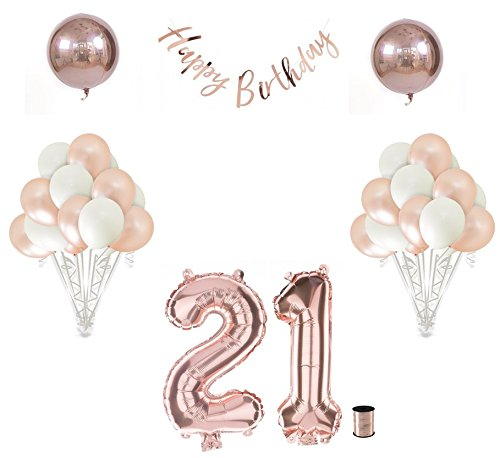Shimmer and Confetti | 21st Birthday Balloon Decoration Set in Rose Gold | 21st Birthday Decorations | Finally Legal | Rose Gold and White Birthday Party Theme (Rose Gold - -