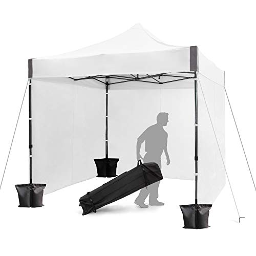 FinFree 10×10 FT Pop Up Canopy Tent Commercial Instant Canopy with Roller Bag,6 Walls and Weight Bags, White